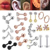 16G CZ Crystal Tragus Lip Rings Ear Cartilage Stud Earring Body Piercing Jewelry