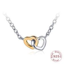 Genuine S925 Silver Forever Love Interlocked Twin Hearts Pendant Necklace