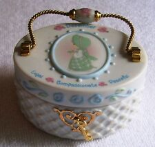"2001 Enesco Precious Moments Porcelain December Oval 3""X2.5"" Trinket Box, 2001"