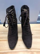 """Gucci Brown Suede with Gold Hardware Ankle Boots on 3"""" Heels - Size 81/2 B"""