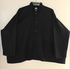 Eskandar Sz 0 Brilliant Black Double-Collar Wool Flannel Oversize Jacket