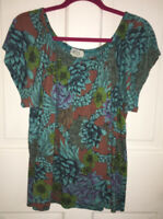 Plume & Thread cropped print peasant top size M/L