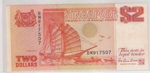 Singapore S$2 3rd series Ship, 1991 orange note (AUNC - foxing)