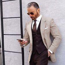 Men Brown Check Jacket Blazer Coat Elegant Luxury Stylish DESIGNER Party Wear