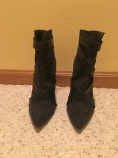 Dark green stiletto heel faux suede and leather ankle boots