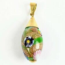 Vintage 18K Gold Venetian Wedding Cake Fiorato Lampwork Glass Bead Pendant 5.74g