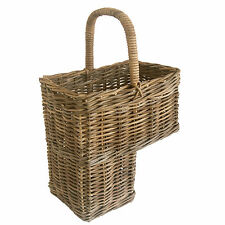 Grey Wicker Rattan Storage Stair Basket