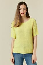 Wallis Womens Yellow Button Short Sleeve Jumper Short Sleeve Round Neck