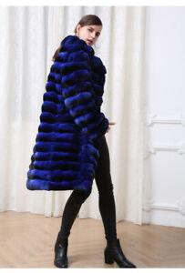 Blue Chinchilla Fur Coat Knee Length Collar Made in Europe