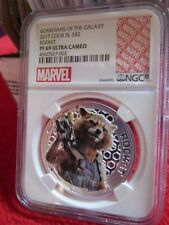 Cook Islands Marvel Guardians of Galaxy Rocket Raccoon .999 Silver coin NGC PF69