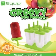 NEW GROOVY GREEN ICE BLOCK MOULDS Iceblock Pop Pole Maker SET OF 6 BPA FREE