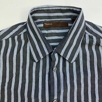 Perry Ellis Button Up Shirt Men's Size 2XL XXL Short Sleeve Multi Striped Casual