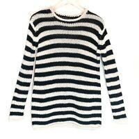 Zara Knit Chunky Fuzzy Sweater Black White Stripes