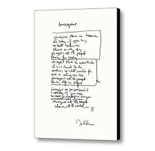 Framed John Lennon facsimile hand written Imagine Signed Lyrics 8.5X11 inchPrint