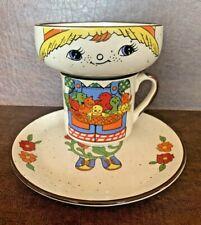 Vintage Child's 3 Piece Farm Boy chicks Stacking Bowl Mug Plate Meal Set  RARE
