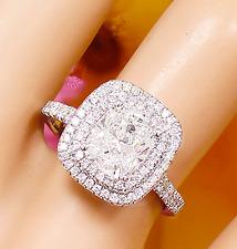 14k White Gold Cushion Cut Moissanite and Diamond Engagement Ring Halo 2.20ctw