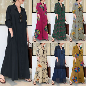 UK Womens Long Sleeve Collared Button Down Casual Loose Kaftan Baggy Maxi Dress