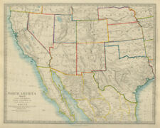 SOUTH WESTERN USA & NORTHERN MEXICO California & Texas SDUK 1874 old map