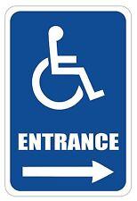 "Handicap Entrance Sign 12"" x 8"" Heavy Gauge Aluminum Signs"