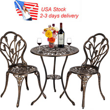 Us European Style garden set table and two chairs Bistro Set Bronze new