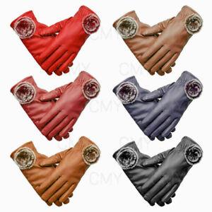 UK Winter Windproof Waterproof Anti-slip Leather Touch Screen Gloves Ladies