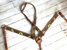 Western Saddle Horse Leather Tack Set w/ Sunflower Design Bridle + Breast Collar