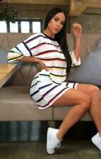 Womens Stripe Oversized Boyfriend T Shirt Dress Baggy Casual Tee Loose Long Tops