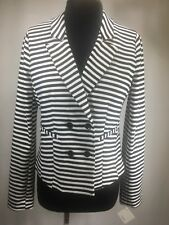 Halogen Nordstrom Black & White Striped Notch Lapel Double Breasted Jacket Sz M