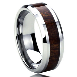 Men Women  Engraving Stainless Steel Wedding Band Wood Grain Inlay Ring