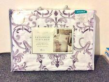 Opulence Savannah Stitched Contemporary Deluxe Double Duvet Set Covers Purple