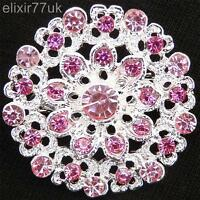 NEW SILVER FLOWER BOUQUET BROOCH PINK DIAMANTE CRYSTAL WEDDING PARTY PIN BROACH