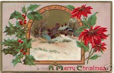 A MERRY CHRISTMAS ~ 1910 Embossed Scenic