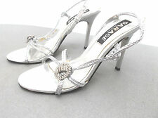 """garage "" ladies size 6 white silver heeled shoes with diamantes"