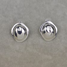 chico's signed jewelry polish silver plate stud earrings texture free shipping