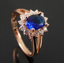 GOLD PLATED BLUE CUBIC ZIRCONIA SOLITAIRE WITH ACCENTS RING UK SIZE S. US SIZE 9