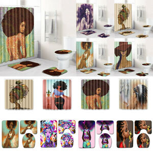 Art African American Women Shower Curtain Bathroom Mat Rug Toilet Seat Cover Set