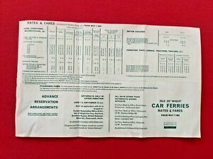 ISLE OF WIGHT CAR FERRIES LEAFLET  MAY 1963 RATES & FARES  BR SOUTHERN