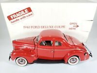 Danbury Mint 1940 Ford Deluxe Coupe Red 1/24 Scale Diecast w/ Box