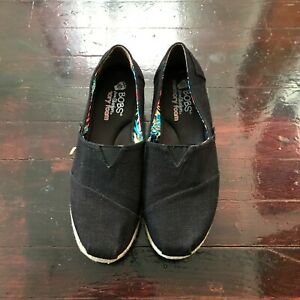 Bobs By Skechers Black Espadrilles Wedge Memory Foam Women's Shoes size 8.5