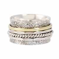925 Sterling Silver Spinner Ring Wide Band Meditation Statement Jewelry sr3204