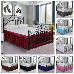 Solid Color Pleated Bed Ruffle Dust Ruffle Drop Easy Fit Bed Skirt 15''