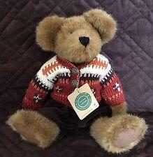 """Boyds Devin Fallsbeary Jointed Teddy Bear 14"""" Hand Knit Woolen Sweater #912621"""