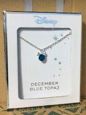 Licenced Disney Mickey Mouse Ears Silver Birthstone Necklace & Pendant Primark December Topaz