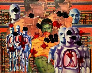PETERS 1927-2019 NEW YORK CITY SURREAL ABSTRACT OUTSIDER MIXED MEDIA COLLAGE