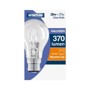 10 x Status 28W=37W Halogen Light Bulb GLS BC B22 Dimmable Energy Saving Lamp