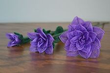 3 handmade French beaded Flowers purple rose Large medium small rose glass beads