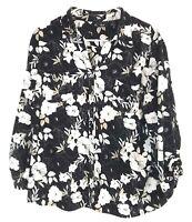 Women's Erika Black White Beige Floral Pattern Collared 3/4 Sleeve Button Up XL