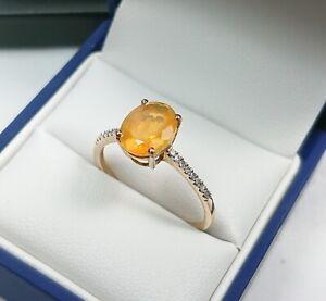 Lovely 9ct Gold, Tangerine Gem & Diamond Ring.   Size S