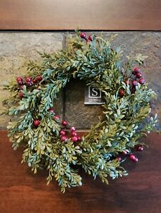 """NWT 8"""" Mini Leaf Red Berry Candle Ring Small Wreath Table top Wall Decor"""