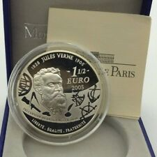France 2005 Jules Verne Terre a Lune 1,50 euro 1/2 € Silver Proof Earth to Moon